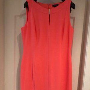 Tahari Boatneck Sleeveless Dress Hot Pink Size 12